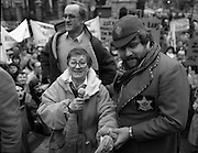 Irish Theatre Industry Protest..1983.07.12.1983.12.07.1983.7th December 1983..With the imposition of a 23% V.A.T. rate the Irish Theatre Industry was feeling the strain. Photograph shows Maureen Potter the Star of Irish Theatre led the protest outside Leinster House, Dublin. Ably assisting was Bottler,aka Brendan Grace, who lent a helping hand. Also on the rostrum was the well known actor Frank Kelly..