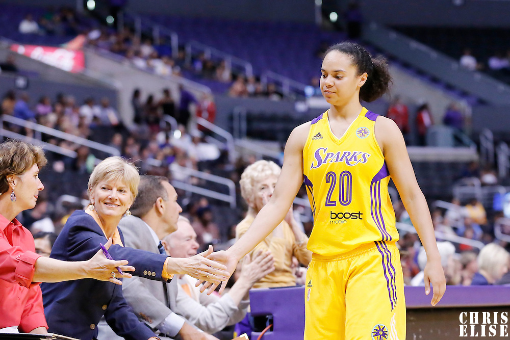 25 May 2014: Los Angeles Sparks guard Kristi Toliver (20) goes back to the bench during the Los Angeles Sparks 83-62 victory over the San Antonio Stars, at the Staples Center, Los Angeles, California, USA.