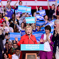 Democratic presidential candidate  Hillary Clinton and running mate Sen. Tim Kaine (Va.) and their spouses takes the stage at a rally in the David L. Lawrence Convention Center in Pittsburgh as part of their bus tour following the Democratic Convention on July 30, 2016.   Photo by Archie Carpenter/UPI