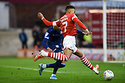 Jacob Brown of Barnsley FC crosses the ball for Barnsley FC Captain Alex Mowatt who SCORES during the EFL Sky Bet Championship match between Barnsley and Huddersfield Town at Oakwell, Barnsley, England on 11 January 2020.