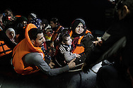 A rubber boat overcrowed with Syrian refugees had an engine failure during it's night trip, but was safely towed to Skala Sikaminias port by a Greek fishing boat, Greece on 12<br /> November, 2015. Lesbos, the Greek vacation island in the Aegean Sea between Turkey and Greece, faces massive refugee flows from the Middle East countries.