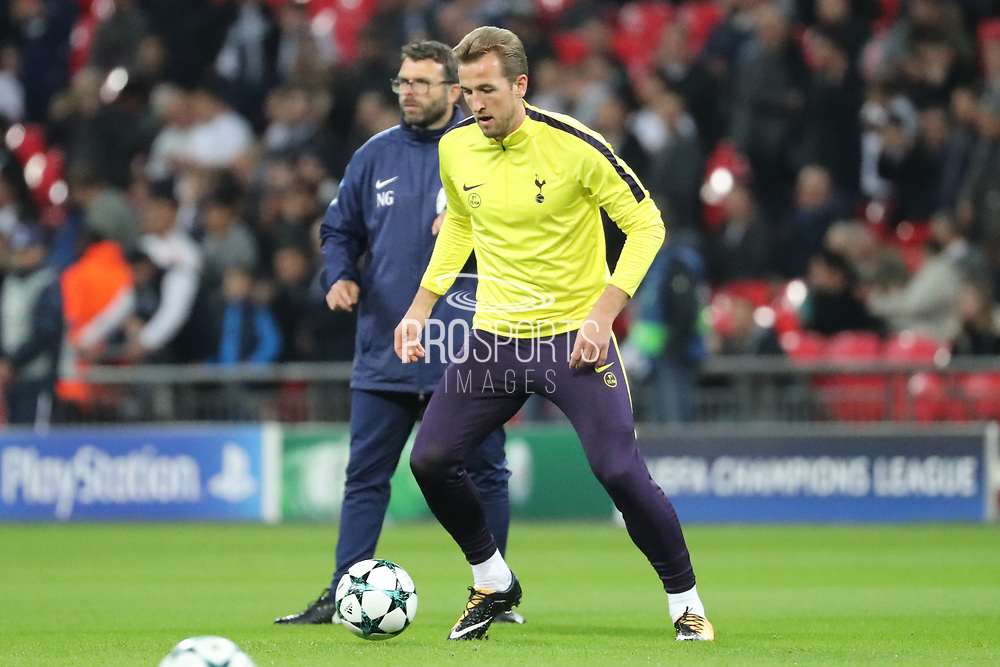 Tottenham Hostpur striker Harry Kane (10) warming up during the Champions League match between Tottenham Hotspur and Real Madrid at Wembley Stadium, London, England on 1 November 2017. Photo by Matthew Redman.