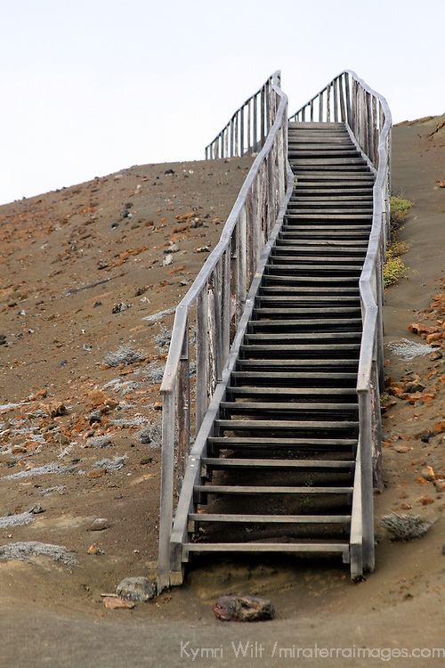Bartholomew Island, Galapagos Islands, Ecuador, South America. A wooden stairway leads hikers over difficult fragile terrain.