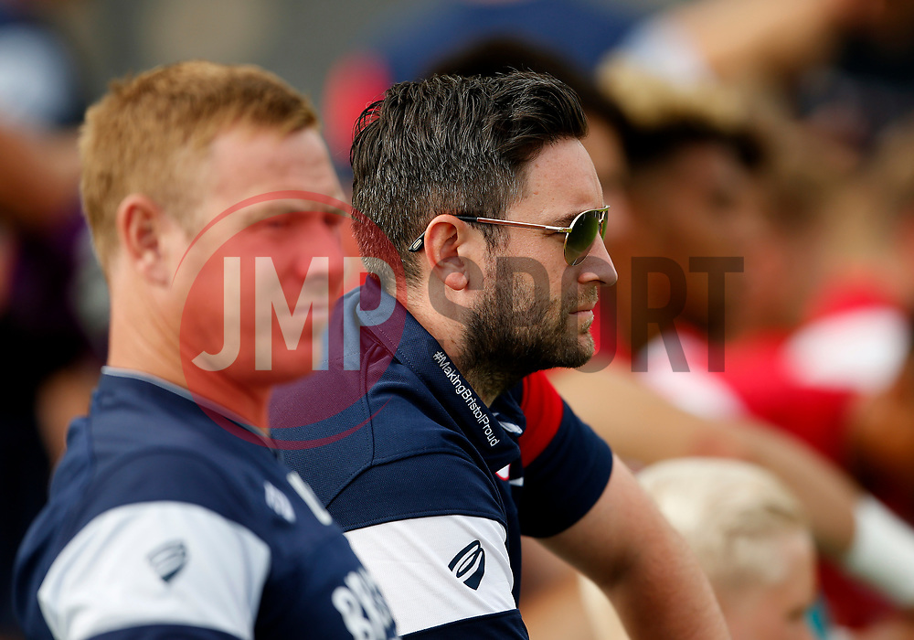 Bristol City head coach Lee Johnson watches the game next to coach Dean Holden - Mandatory by-line: Matt McNulty/JMP - 22/07/2017 - FOOTBALL - Tenerife Top Training - Costa Adeje, Tenerife - Bristol City v Atletico Union Guimar  - Pre-Season Friendly