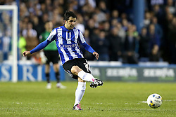 Alex Lopez of Sheffield Wednesday passes the ball - Mandatory by-line: Robbie Stephenson/JMP - 13/05/2016 - FOOTBALL - Hillsborough - Sheffield, England - Sheffield Wednesday v Brighton and Hove Albion - Sky Bet Championship Play-off Semi Final first leg