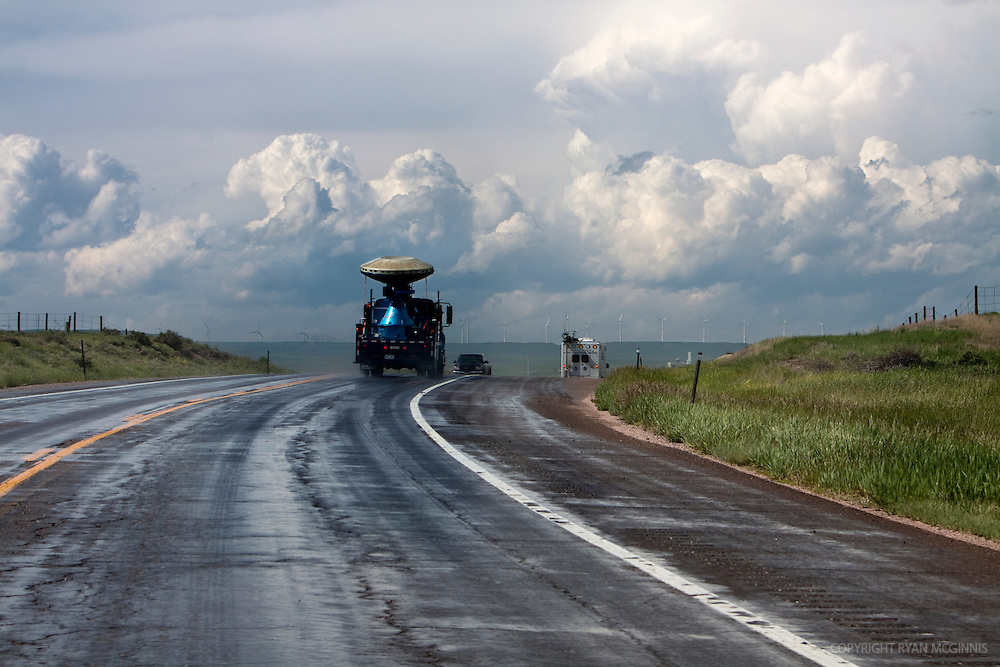 A Doppler on Wheels radar truck drives toward a storm in southern Kansas, June 4, 2009.  <br />