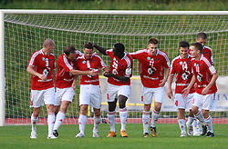 Players of Interblock celebrate a goal (Suad Grabus (3), Igor Lazic (5), Ermin Rakovic (8) of Interblock, Theophile Ntame, Rok Elsner (11) of Interblock, Zoran Zeljkovic (14) of Interblock, Erik Salkic (19) of Interblock) ) at 7th Round of PrvaLiga Telekom Slovenije between NK Interblock vs NK Nafta Lendava, on September , 2008, in ZAK stadium in Ljubljana, Slovenia. Interblock won the match 3:1. (Photo by Vid Ponikvar / Sportal Images)