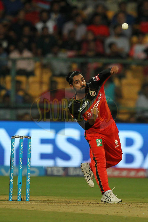 Iqbal Abdullah of Royal Challengers Bangalore during match 5 of the Vivo 2017 Indian Premier League between the Royal Challengers Bangalore and the Delhi Daredevils held at the M.Chinnaswamy Stadium in Bangalore, India on the 8th April 2017Photo by Prashant Bhoot - IPL - Sportzpics