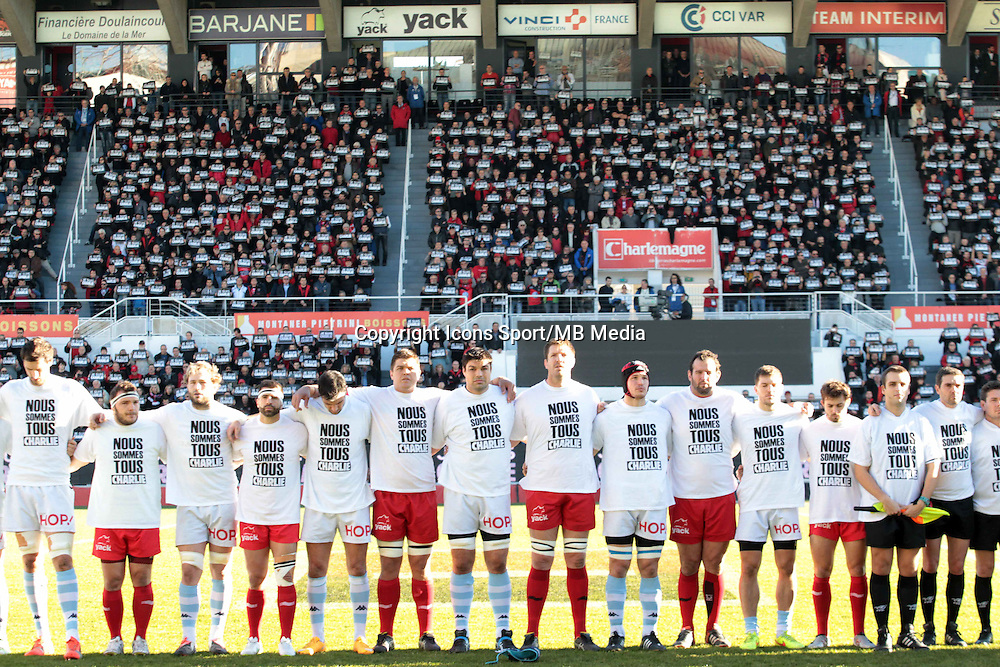 Equipe Toulon - Hommage Charlie Hebdo - 10.01.2015 - Toulon / Racing Metro - 16e journee Top 14<br />
