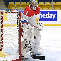 WHITBY, - Dec 15, 2015 -  WJAC Game 6- Team Russia vs Team Switzerland at the 2015 World Junior A Challenge at the Iroquois Park Recreation Complex, ON. Mikhail Berdin #1 of Team Russia protects the crease during the second period.<br /> (Photo: Andy Corneau / OJHL Images)