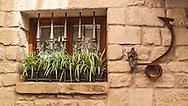 A window in the walled city of La Guardia, Spain