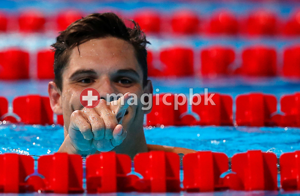 Florent Manaudou of France reacts after competing in the men's 50m Freestyle Semifinal during the 15th FINA World Aquatics Championships at the Palau Sant Jordi in Barcelona, Spain, Friday, Aug. 2, 2013. (Photo by Patrick B. Kraemer / MAGICPBK)