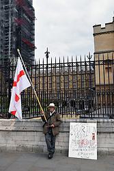 Pro life anti-abortion protester outside Parliament, London UK 29 April 2019