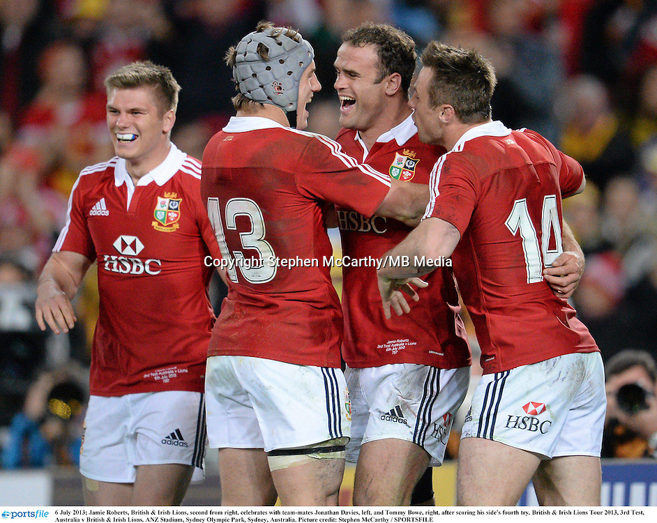 6 July 2013; Jamie Roberts, British & Irish Lions, second from right, celebrates with team-mates Jonathan Davies, left, and Tommy Bowe, right, after scoring his side's fourth try. British & Irish Lions Tour 2013, 3rd Test, Australia v British & Irish Lions. ANZ Stadium, Sydney Olympic Park, Sydney, Australia. Picture credit: Stephen McCarthy / SPORTSFILE