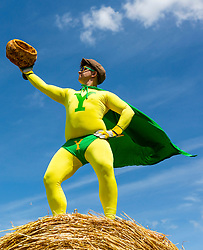 "© Licensed to London News Pictures. 01/08/2018. York UK. A new Superhero has been unveiled this afternoon in Yorkshire to mark Yorkshire Day. ""Yorkshireman"" made his first appearance with a giant Yorkshire pudding & using his catchphrase Eye-up & away at York Maze near York & is said to represent all that is best from the county of Yorkshire. Photo credit: Andrew McCaren/LNP"