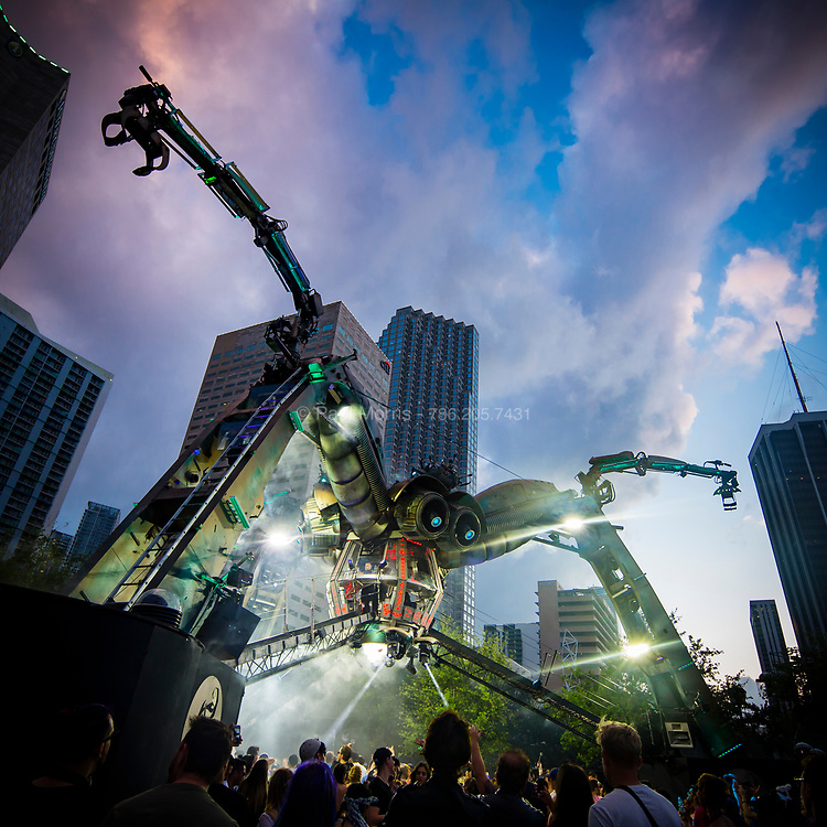 Giant robot spider attacks the Ultra Music Festival in downtown Miami, 2017.