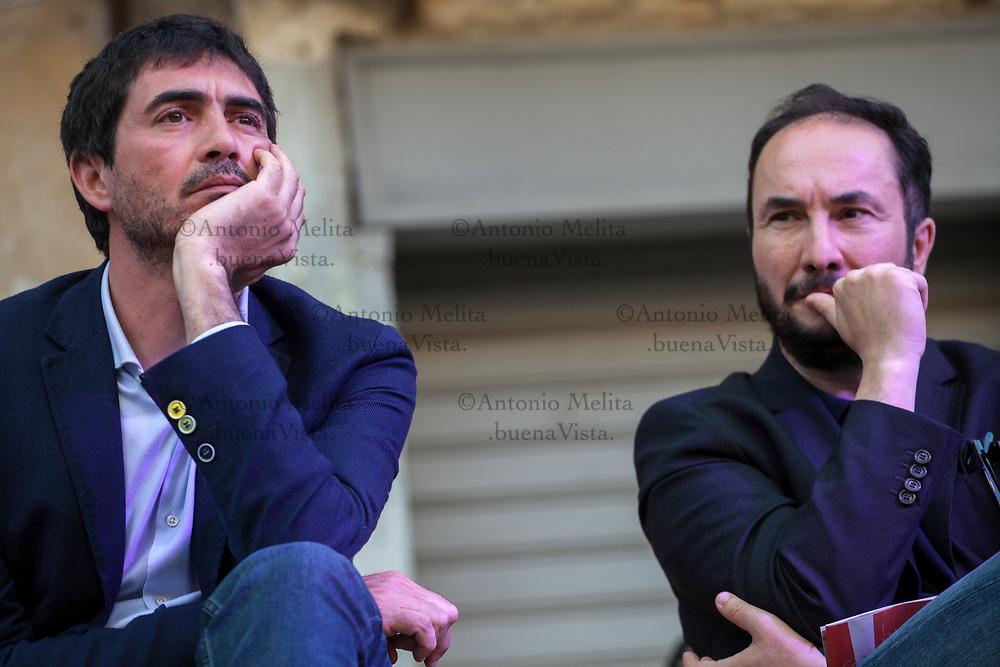 Nicola Fratoianni, segretario nazionale di Sinistra Italiana, e Maurizio Acerbo, segretario nazionale di Rifondazione Comunista, durante una iniziativa a sostegno di Leoluca Orlando sindaco di Palermo.
