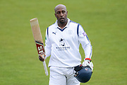 Michael Carberry of Hampshire walks off after falling 2 short of a century during the Specsavers County Champ Div 1 match between Hampshire County Cricket Club and Middlesex County Cricket Club at the Ageas Bowl, Southampton, United Kingdom on 16 April 2017. Photo by David Vokes.