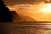 Sunset, Kee Beach, Napali Coast,Kauai, Hawaii