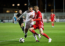 NEWPORT, WALES - Tuesday, October 16, 2018: Wales' Connor Evans in action during the UEFA Under-21 Championship Italy 2019 Qualifying Group B match between Wales and Switzerland at Rodney Parade. (Pic by Laura Malkin/Propaganda)