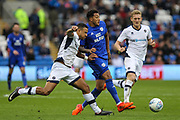 Nathaniel Mendez-Laing of Cardiff City plays the ball forward during the EFL Sky Bet Championship match between Cardiff City and Millwall at the Cardiff City Stadium, Cardiff, Wales on 28 October 2017. Photo by Andrew Lewis.