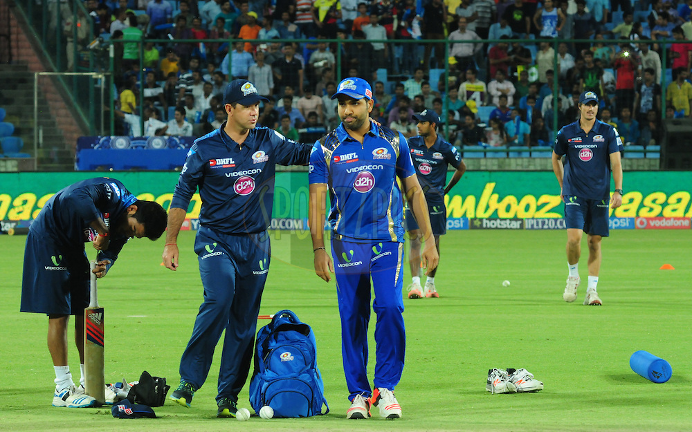 Rohit Sharma captain of of the Mumbai Indians with Ricky ponting during match 21 of the Pepsi IPL 2015 (Indian Premier League) between The Delhi Daredevils and The Mumbai Indians held at the Ferozeshah Kotla stadium in Delhi, India on the 23rd April 2015.<br /> <br /> Photo by:  Arjun Panwar / SPORTZPICS / IPL