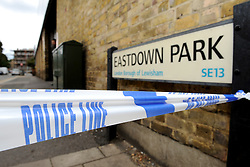 © Licensed to London News Pictures. 15/08/2013. Lewisham, London. Eastdown Park Road in Lewisham is closed after a woman was found murdered at a property here yesterday. Photo credit: David Mirzoeff/LNP