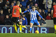 Brighton striker (on loan from Manchester United), James Wilson (21) crosses the ball during the Sky Bet Championship match between Brighton and Hove Albion and Birmingham City at the American Express Community Stadium, Brighton and Hove, England on 28 November 2015. Photo by Phil Duncan.