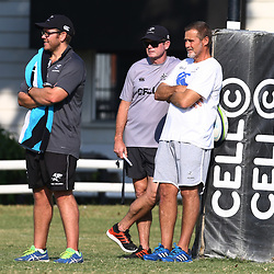 Jaco Pienaar (Assistant Coach) of the Cell C Sharks with Sean Everitt (Assistant Coach) of the Cell C Sharks and Robert du Preez (Head Coach) of the Cell C Sharks during The Cell C Sharks training session at Growthpoint Kings Park in Durban, South Africa. 27th June 2017(Photo by Steve Haag)<br /> <br /> images for social media must have consent from Steve Haag