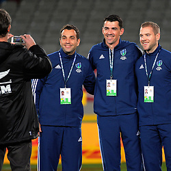Mc Greg Ellis takes a photo of the match officials, from left, Mathieu Raynal, Pacal Gauzere and Angus Gardner, before the 2017 DHL Lions Series rugby union match between the Blues and British & Irish Lions at Eden Park in Auckland, New Zealand on Wednesday, 7 June 2017. Photo: Dave Lintott / lintottphoto.co.nz