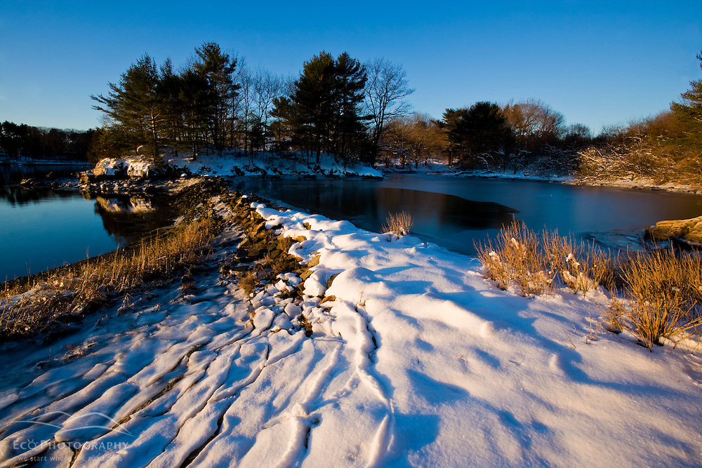 Sagamore Creek in winter in Portsmouth, New Hampshire.  Society for the Protection of New Hampshire Forests' Creek Farm Reservation.  Tidal Creek.