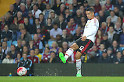 Chris Smalling of Manchester United during the Barclays Premier League match between Aston Villa and Manchester United at Villa Park, Birmingham, England on 14 August 2015. Photo by Phil Duncan.