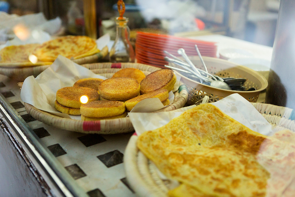 Meloui and hachar street food snack, Marrakech, Morocco, 2016–04-16. <br />