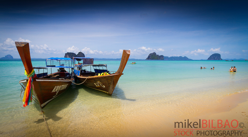Boats on the beach. Ko Ngai island. Trang islands. Krabi province, Thailand