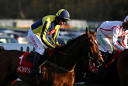 Noel Fehily rides Get In The Queue, his last ride before retiring, in The Goffs UK Spring Sale Bumper Race run during Be Wiser Jumps Season Finale Saturday at Newbury Racecourse, Newbury.