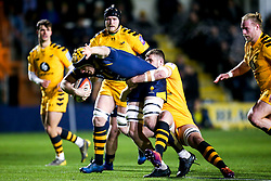 Justin Clegg of Worcester Cavaliers is tackled by Tom Willis of Wasps A - Mandatory by-line: Robbie Stephenson/JMP - 16/12/2019 - RUGBY - Sixways Stadium - Worcester, England - Worcester Cavaliers v Wasps A - Premiership Rugby Shield