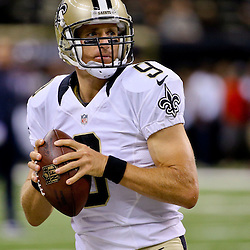 Aug 30, 2015; New Orleans, LA, USA; New Orleans Saints quarterback Drew Brees (9) before a preseason game against the Houston Texans at the Mercedes-Benz Superdome.  The Texans defeated the Saints 27-13. Mandatory Credit: Derick E. Hingle-USA TODAY Sports