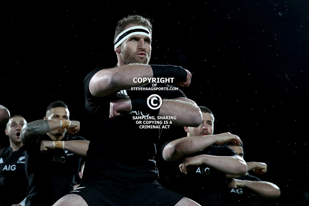 NEW PLYMOUTH, NEW ZEALAND - SEPTEMBER 09:  Kieran Read of the All Blacks leads the haka during The Rugby Championship match between the New Zealand All Blacks and Argentina at Yarrow Stadium on September 9, 2017 in New Plymouth, New Zealand.  Photo by Phil Walter / POOL