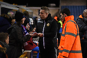 Neil Harris greets the fans ahead of the Johnstone's Paint Trophy semi final first leg match between Millwall and Oxford United at The Den, London, England on 14 January 2016. Photo by Michael Hulf.