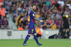 August 7, 2017 - Barcelona, Spain - Lionel Messi of FC Barcelona reacts after missing a chance to score a goal during the 2017 Joan Gamper Trophy football match between FC Barcelona and Chapecoense on August 7, 2017 at Camp Nou stadium in Barcelona, Spain. (Credit Image: © Manuel Blondeau via ZUMA Wire)