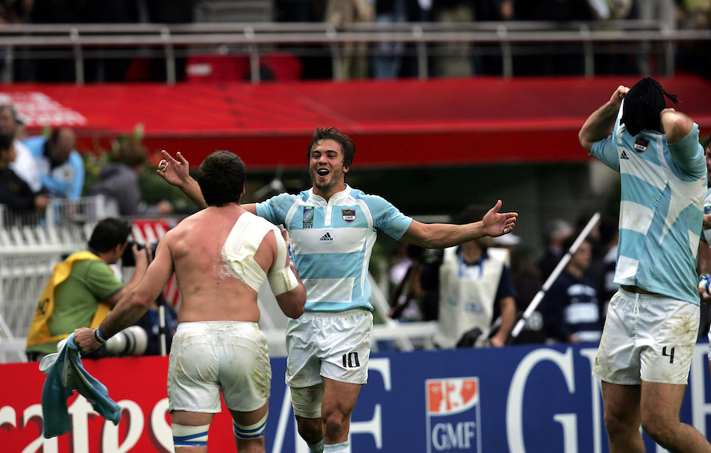 Juan Fernandez Lobbe celebrates at the end of the game. Ireland v Argentina, Parc Des Princes, Paris, France, 30th September 2007. Rugby World Cup 2007.