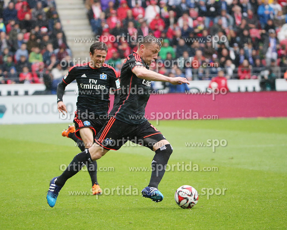 03.05.2015, Coface Arena, Mainz, GER, 1. FBL, 1. FSV Mainz 05 vs Hamburger SV, 31. Runde, im Bild v.l.: Nicolai Mueller und Ivica Olic (beide HSV) // during the German Bundesliga 31th round match between 1. FSV Mainz 05 and Hamburger SV at the Coface Arena in Mainz, Germany on 2015/05/03. EXPA Pictures &copy; 2015, PhotoCredit: EXPA/ Eibner-Pressefoto/ Neurohr<br /> <br /> *****ATTENTION - OUT of GER*****