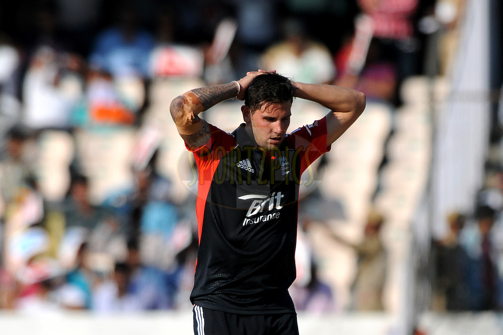 Jade Dernbach of England reacts after a close call during the first One Day International ( ODI ) match between India and England held at the Rajiv Gandhi International Stadium, Hyderabad on the 14th October 2011..Photo by Pal Pillai/BCCI/SPORTZPICS
