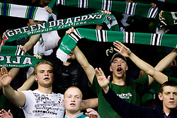 Fans of Olimpija Green Dragons at Group C of Euroleague basketball match between KK Union Olimpija, Slovenia and Caja Laboral, Spain, on November 5, 2009, in Arena Tivoli, Ljubljana, Slovenia.  (Photo by Vid Ponikvar / Sportida)