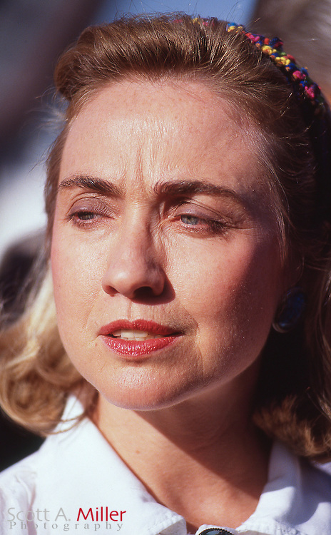 Hillary Clinton is greeted by a delegation from the Navajo Indian Tribe as she campaigns for her husband, Democrat Bill Clinton, during the presidential campaign on Sept. 16, 1992 in Gallup, N.M.<br /> &copy;1992 Scott A. Miller