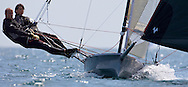 Katie Nurton and Nigel Ash sailing downwind during the 2008 POW Cup Race at Weymouth