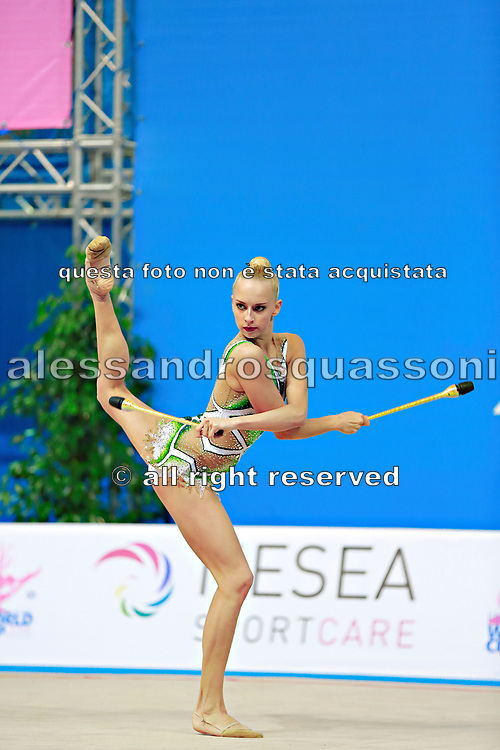 """Kudryavtseva Yana of Russia competes during the rhythmic gymnastics individual of the World Cup at Adriatic Arena on April 2, 2016 in Pesaro, Italy. Yana """"The Queen"""" is a Russian gymnast born in Moscow on 30 September 1997. Until her retirement in 2017 was one of atllete most awarded in the history of rhythmic gymnastics."""