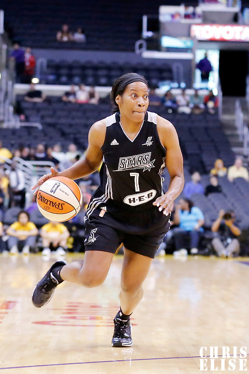 25 May 2014: San Antonio Stars guard Jia Perkins (7) dribbles during the Los Angeles Sparks 83-62 victory over the San Antonio Stars, at the Staples Center, Los Angeles, California, USA.