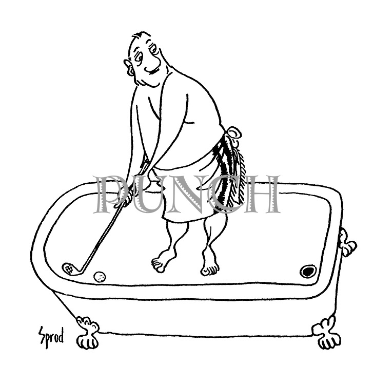 (Man playing golf in a bathtub)