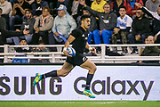 Buenos Aires (Bs. As. Province, ARGENTINA), September 29, 2018: Rieko Ioane from All Blacks runs with the ball during the International rugby match during the Rugby Championship between Argentina v New Zealand at José Amalfitani Stadium, on Saturday, September 29, 2018 in Buenos Aires, Argentina. <br /> Copyright photo: Pablo A. Gasparini / www.photosport.nz